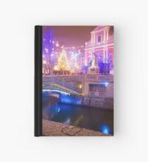 Christmas lights in Preseren Square in Ljubljana Hardcover Journal