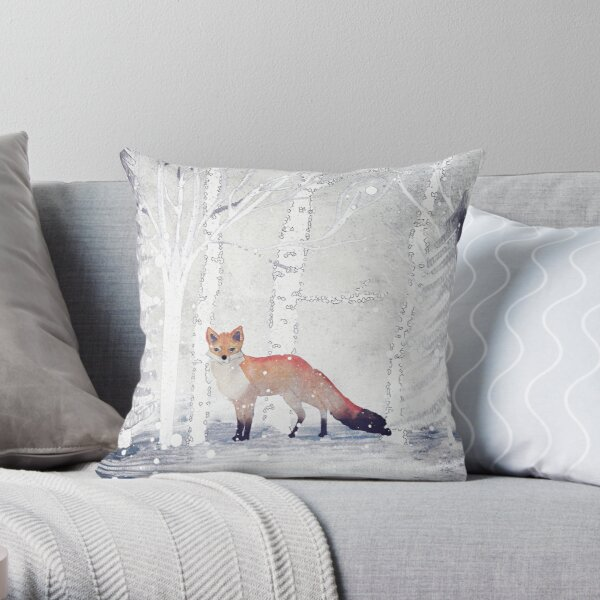 WINTER FOX by Monika Strigel Throw Pillow