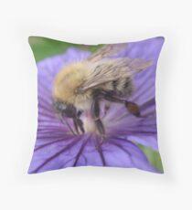 Bumble Bee Just Visiting. Throw Pillow