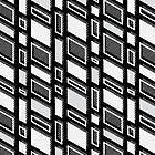 Thunder Rhombus - Geometric Sketch Pattern (Black and White) by mariomartin