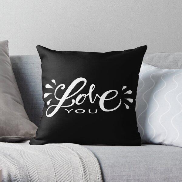 Love you - fond noir Coussin