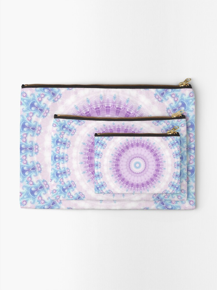 Alternate view of Pastel Purple and Blue Mandala Zipper Pouch