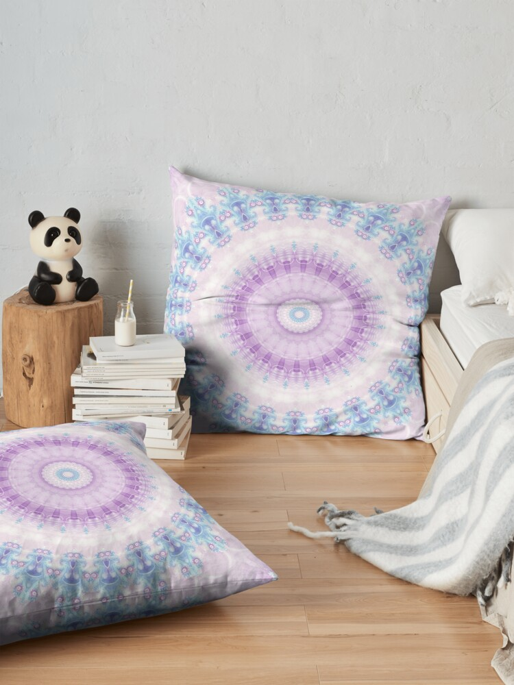 Alternate view of Pastel Purple and Blue Mandala Floor Pillow