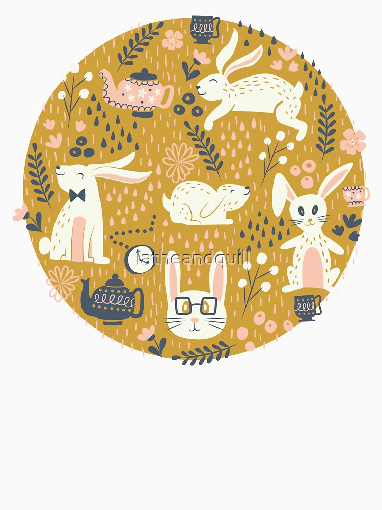 Bunnies + Teapots in Gold by latheandquill