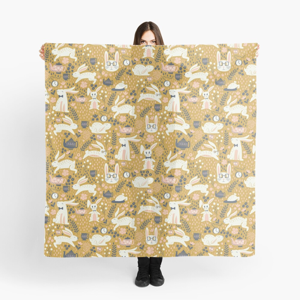 Bunnies + Teapots in Gold Scarf