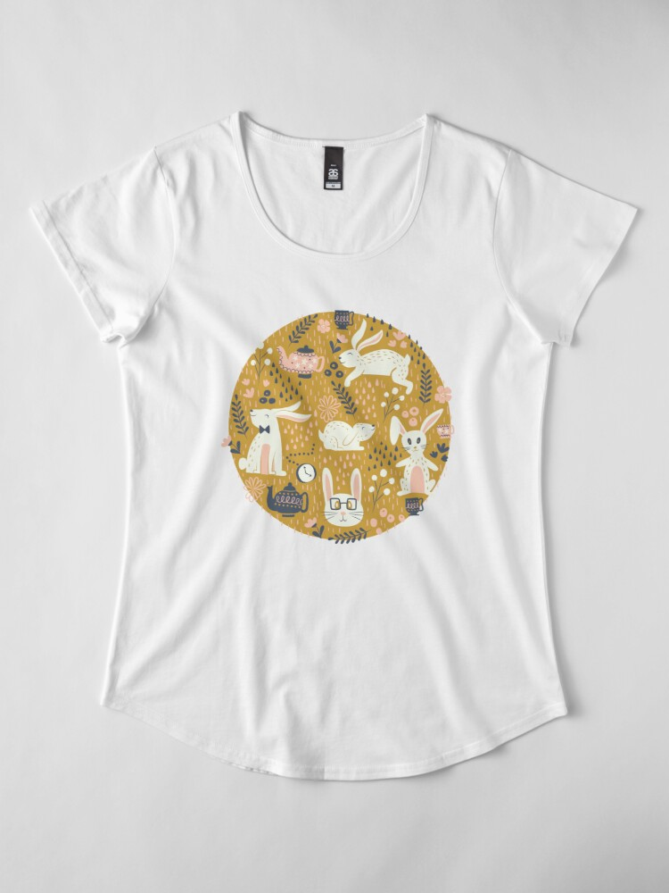 Alternate view of Bunnies + Teapots in Gold Premium Scoop T-Shirt