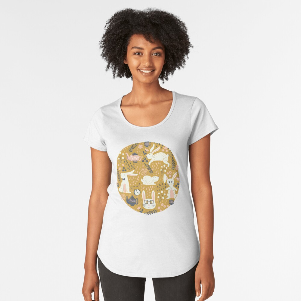 Bunnies + Teapots in Gold Premium Scoop T-Shirt