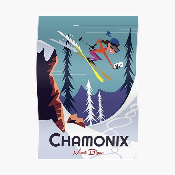 FRENCH MONT BLANC CHAMONIX MOUNTAIN PARIS FRANCE SKI SPORT VINTAGE POSTER REPRO
