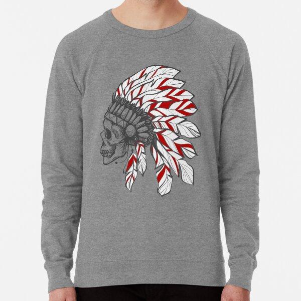 Skull Headdress Native American Chieftain  Lightweight Sweatshirt