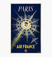Paris Air France Vintage Travel Poster Restored Photographic Print