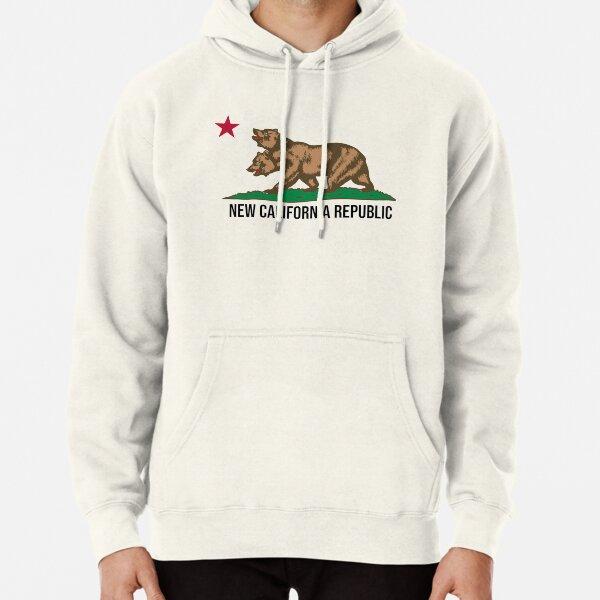 California Republic Flag Pullover Hoodie Red Contrast Cali Sweatshirt Hoody NEW
