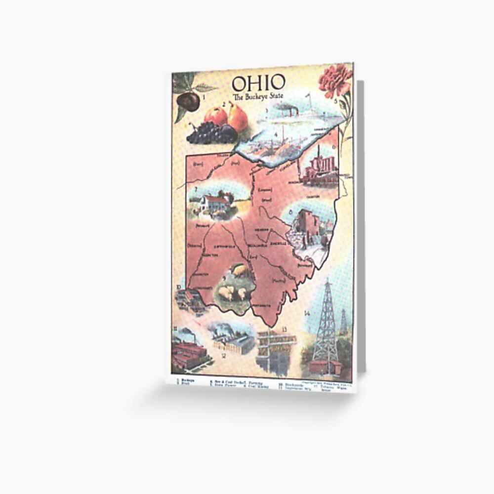 Mapa Vintage de Ohio (1921) Tarjetas de felicitación