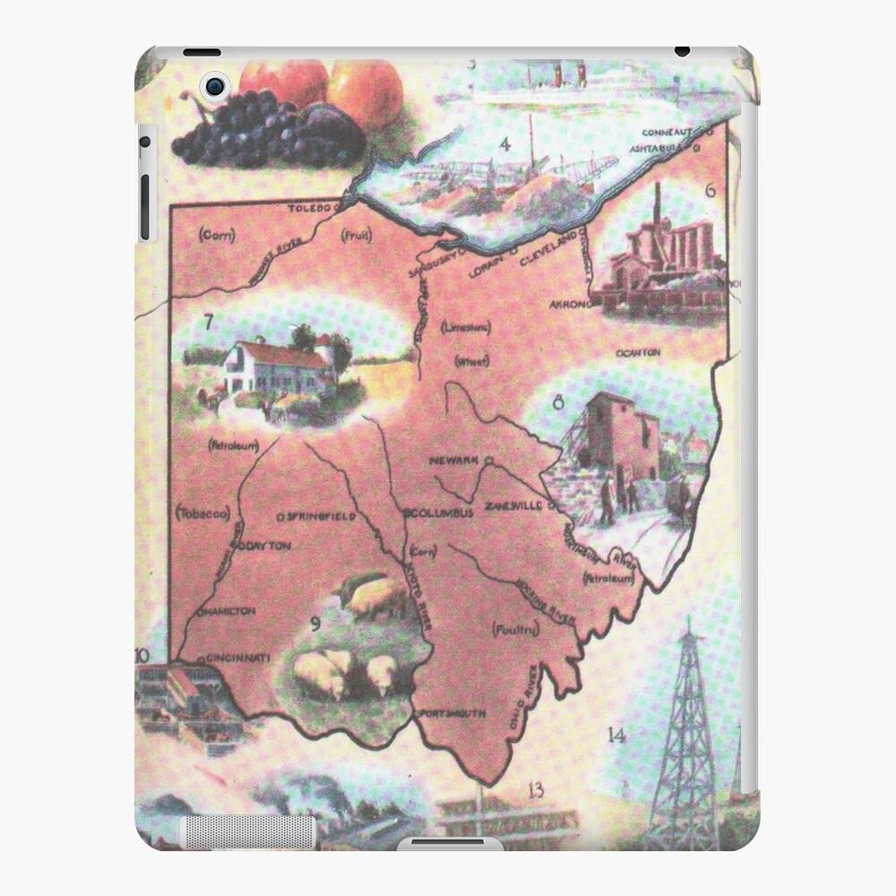 Mapa Vintage de Ohio (1921) Funda y vinilo para iPad