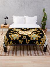 Golden baroque Throw Blanket