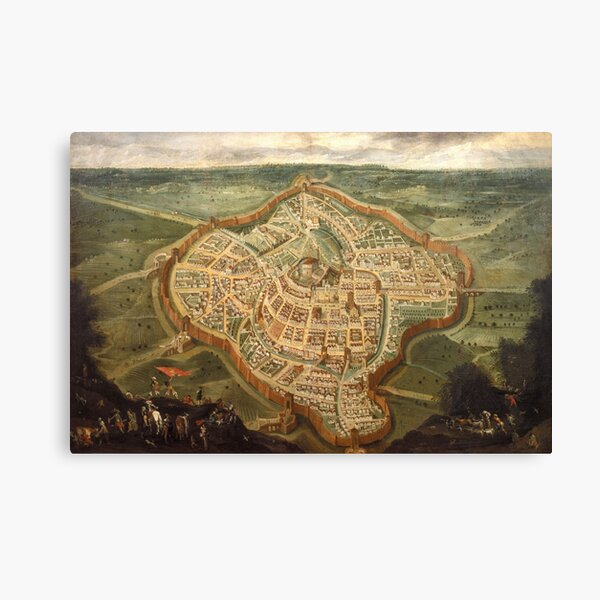 Perspective map of Udine, by Luca Carlevaris (1663-1730), Italy 17-18th Century Canvas Print