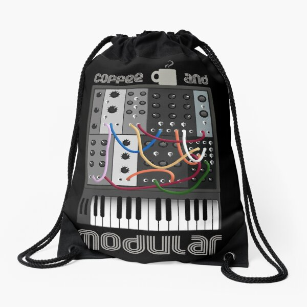 Coffee and Modular for Analog Synthesizer Fan Drawstring Bag