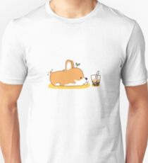 Corgi and Bubble Tea  Slim Fit T-Shirt
