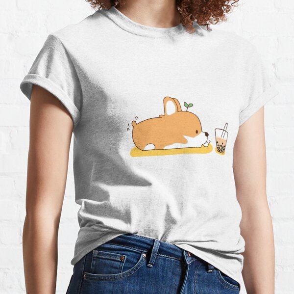 Corgi and Bubble Tea  Classic T-Shirt