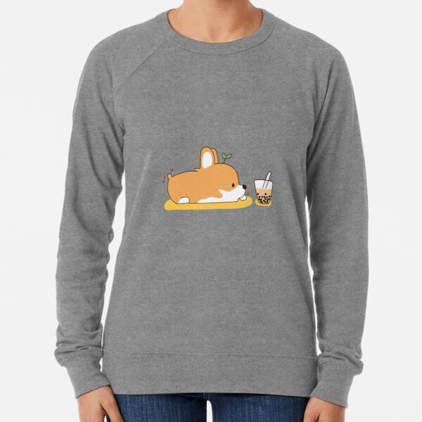 Corgi and Bubble Tea  Lightweight Sweatshirt