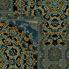BLUE GOLD MANDALA ABSTRACT by fengshuibabe