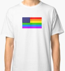 Gay USA Rainbow Flag - American LGBT Stars and Stripes Classic T-Shirt