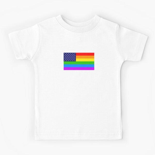 Gay USA Rainbow Flag - American LGBT Stars and Stripes Kinder T-Shirt