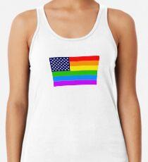 Gay USA Rainbow Flag - American LGBT Stars and Stripes Racerback Tank Top