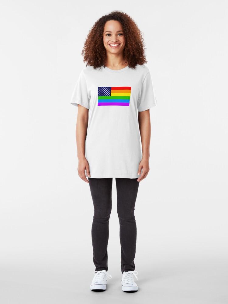 Alternative Ansicht von Gay USA Rainbow Flag - American LGBT Stars and Stripes Slim Fit T-Shirt