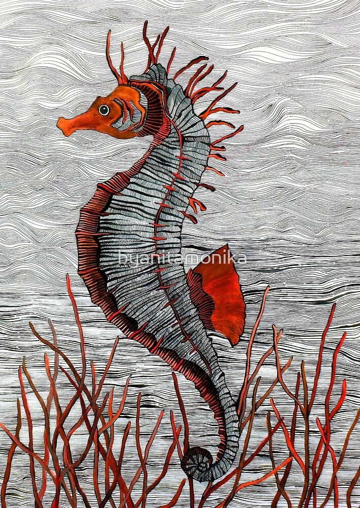 Seahorse (orange) by byanitamonika