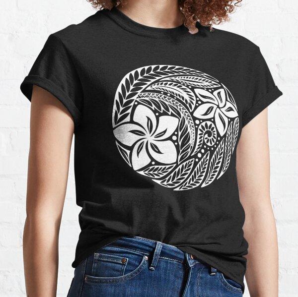 Circular Polynesian White Floral Tattoo  Classic T-Shirt