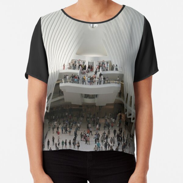#architecture #indoors #group #business modern airport ceiling crowd city Chiffon Top