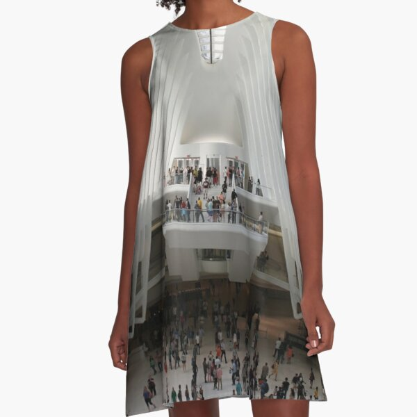 #architecture #indoors #group #business modern airport ceiling crowd city A-Line Dress