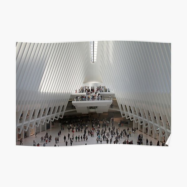 #architecture #indoors #group #business modern airport ceiling crowd city Poster