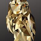 owl in a brown and gold geometric  bold origami pattern by Angie Stimson