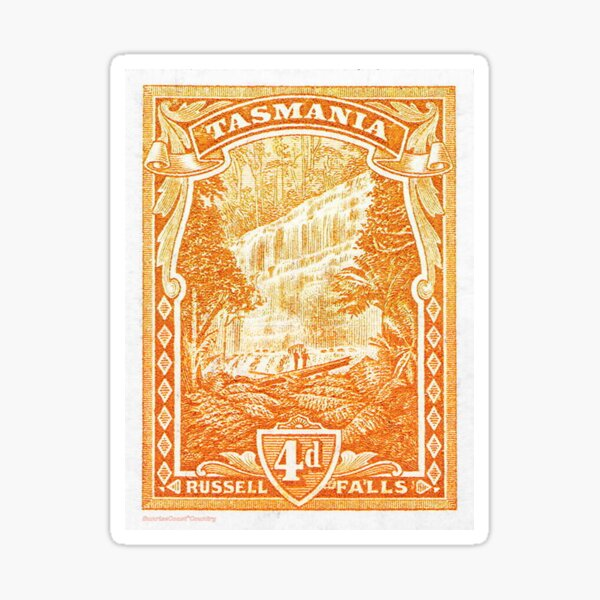Antique Australian postage stamp, 4d Russell Falls Tasmania Sticker