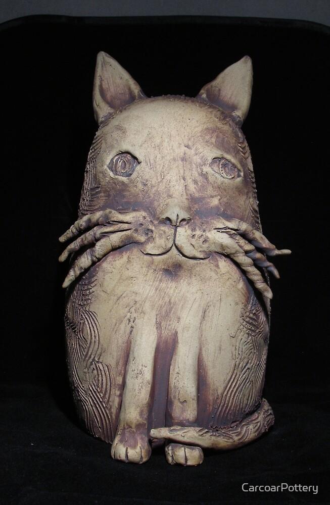 Cat Post Sitter Iron Oxide Carcoar by CarcoarPottery