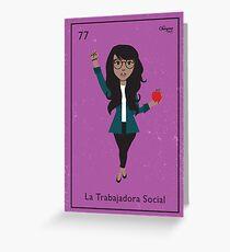 La Trabajadora Social Green Jacket Greeting Card