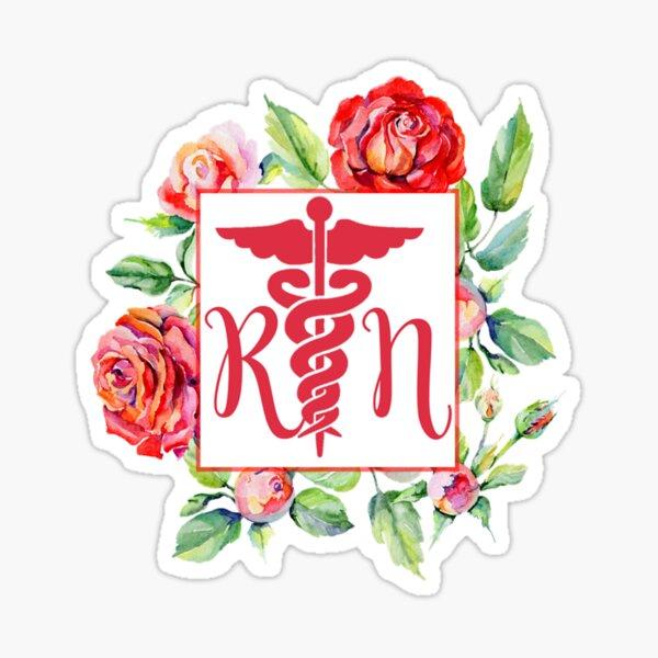 RN registered nurse floral rose flower  Sticker