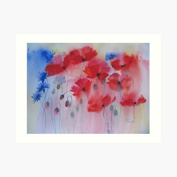 Peach Poppy watercolor Giclee Print of my original watercolor painting Print Floral Design Watercolor Peach Poppies and buds