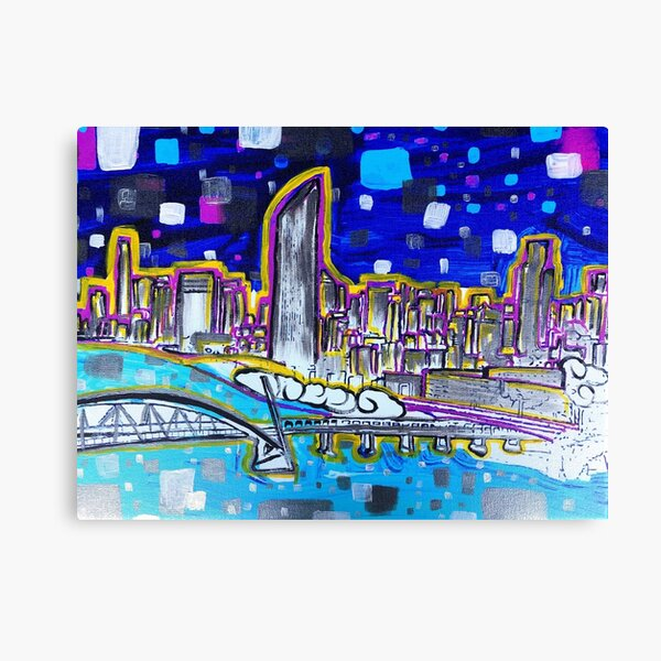 Vibrant Brisbane River Painting Canvas Print