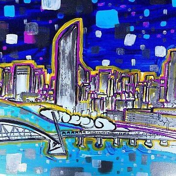 Vibrant Brisbane River Painting by annaleebeer