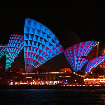 Opera House In Blue & Red by Michaelm43