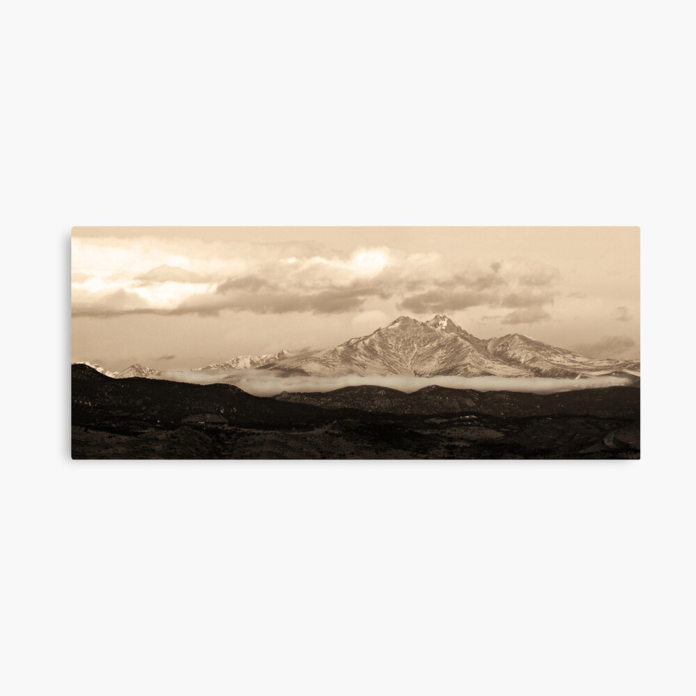Meeker - Longs Peak - Sepia Panorama Canvas Print