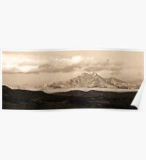 Meeker - Longs Peak - Sepia Panorama Poster