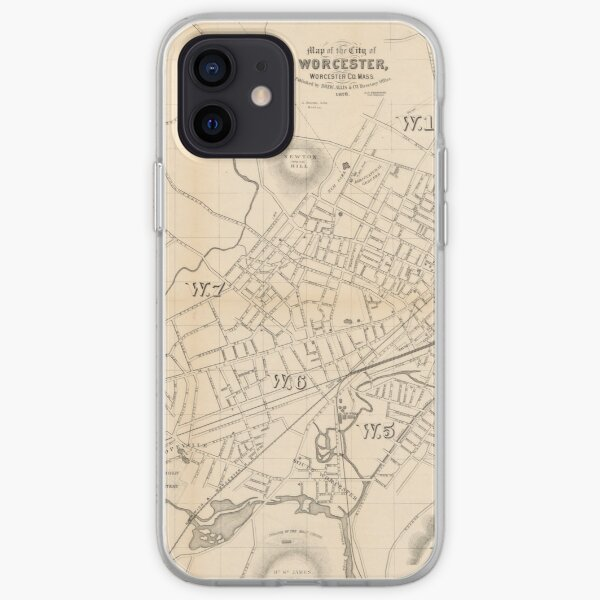 1878 Map of the City of Worcester Massachusetts iPhone Soft Case