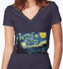 Vincent Van Gogh - Starry night  Women's Fitted V-Neck T-Shirt