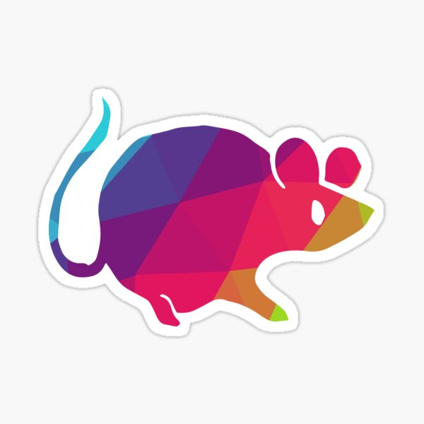 Vector Illustration Logo Design of Rat Animal with Geometry Polygon Rainbow Color. Graphic Design for Shirt, Sticker, Mug, Phone Covers and more.  Sticker