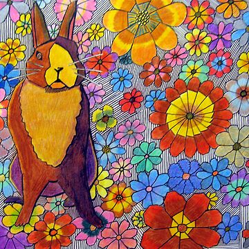 306 - FLORAL BUNNY - DAVE EDWARDS - COLOURED PENCIL & INK - 2010 by BLYTHART