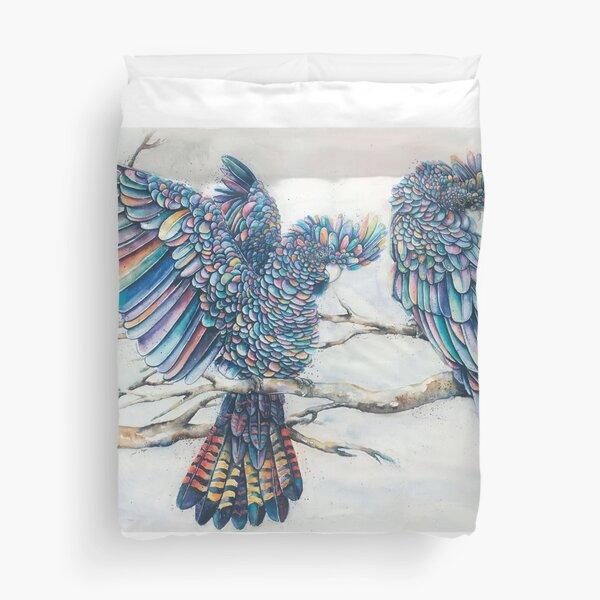 Black Cockatoo Pair - Rainbow Duvet Cover