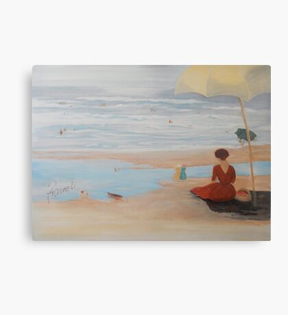 Lady by the shore Canvas Print